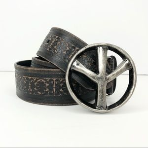 Peace Sign Buckle Distressed tooled Belt Sz S/M